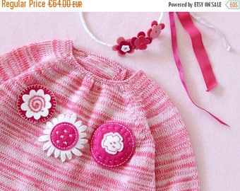 ON SALE Knitted baby dress, felt flowers, blended pink. 100% Merino wool. READY To Ship size newborn.