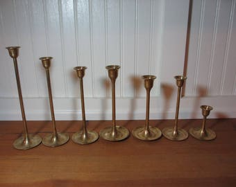 7  Assorted Simple, Tulip Style Graduated Brass Candlesticks, Regency, Wedding, Staging, BR445