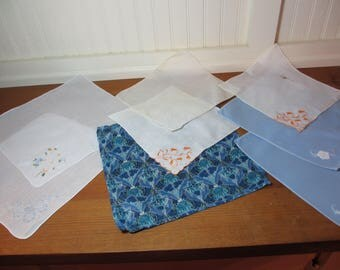 8 Vintage Ladies Handkerchiefs, Collectible, Linens, Wedding, Shabby Chic, Cottage