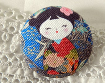 Button Japanese doll cloth, 20 mm / 0.78 in diameter