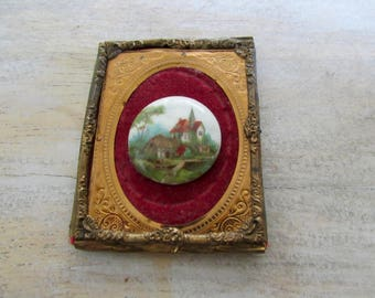 Antique Tin Type Brass Frame with Hand Painted Porcelain Cabochon