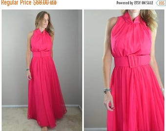 Summer SALE - 20% off - vintage 60s 70s hot pink evening gown maxi sleeveless dress -- womens small -- 36-27-free