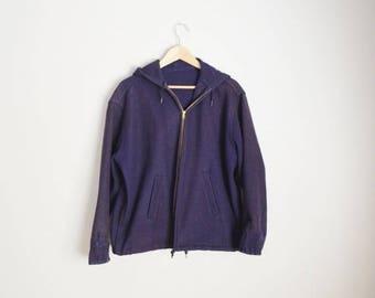 Summer SALE - 20% off - vintage 1940s 50s heavy duty navy wool military hooded fisherman jacket -- mens xlarge - TALON zipper