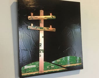 Powerline Upcycled Circuit Board mosaic