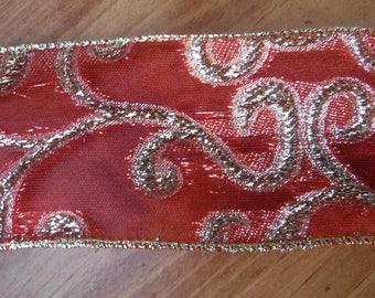 Red with Gold Swirls Wire Edge Ribbon 1 Yard