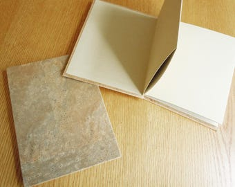 Portugese Corkskin with White or Tan BFK 6x8 Accordion Fold Photo Album Sketchbook Memory Book
