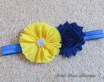 Blue and Yellow Headband, Flower Headband, Baby Headband, Royal Blue Headband, Girls Headband, Headband, Birthday Headband, Yellow Head Band