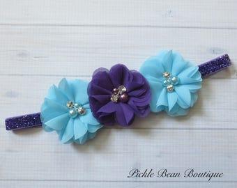 Purple Turquoise Blue Headband, Flower Headband, Baby Headband, Infant Headband, Girls Headband, 1st Birthday Headband, Purple Head Band
