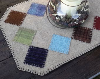Wool penny rug, wool candle mat, wool table runner