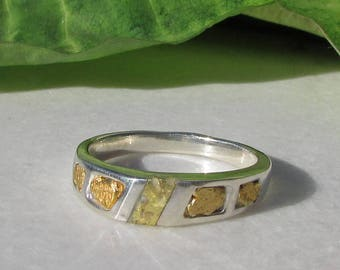 Ladies Gold Nugget Wedding Band, Gold Bearing Quartz, Ladies Gold Nugget Ring, Gold in Quartz Ring, California Gold Nugget Jewelry