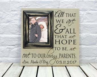 Parent of the Bride Wedding Gift Picture Frame, Thank You Gift, Personalized Picture Frame, Parent Wedding Gift Father of the Bride Gift