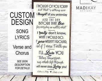 Wedding Song Lyric Frame, Song Lyric Gift, Song Lyric Signs, Wedding Song Gift, Wedding Song Art, Song Lyric Wood, Wood Wall Art, Wood Sign