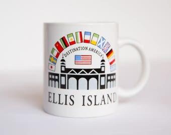 Vintage Ellis Island Mug, New York City Coffee Mug, NY Mug, New York Mug, Vintage Coffee Mug