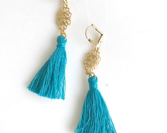 SALE Turquoise Tassel and Gold Tassel Earrings.  Tassel Earrings.  Gold Statement Earrings. Holiday Tassel Jewelry. Gift.