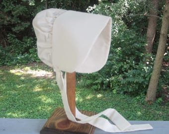 Size 12 Months Infant to Toddler Girls Prairie Bonnet/Pioneer or Solid Cream Sun Bonnet - JENNY Ready to Ship
