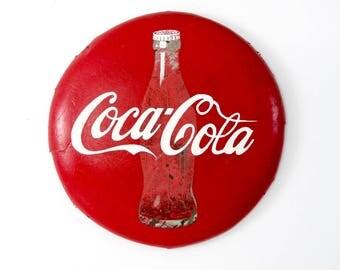 vintage Coca-Cola sign, large metal Coke button sign