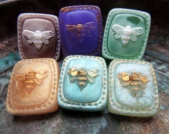 Mini Honey Bee Soap Set, Stitched Bee Square Soaps, Set of Six, 6 Mini Travel Soaps, Insect Bee Soaps