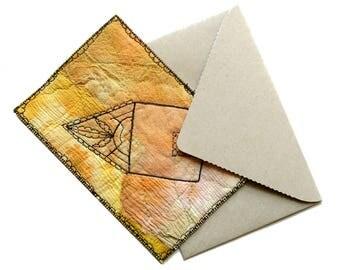 Yellow house fabric postcard