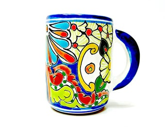 Telavera Pottery Mug - Vintage Hand Painted Mexican Ceramic Coffee Cup - Artist Signed