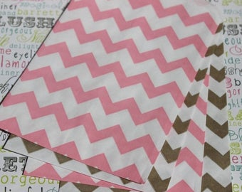 GLAMSALE 60 Blush Pink and Gold Party Favor Bags in Chevron, Polka Dots and Rugby Stripes, Wedding Candy Bags, Cookie Bags, Popcorn Bags, Ca