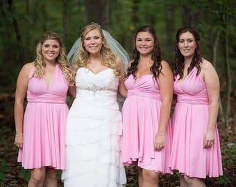 Pink Bridesmaids Dress -  Pink Infinity Convertible Dress ... Bridesmaids, Special Occasion, Holidays, Prom, Beach, Honeymoon, Vacation