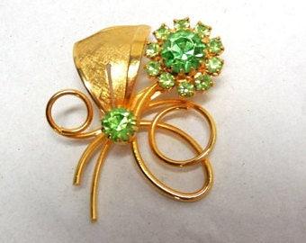 Flower Brooch Peridot Green Rhinestone Gold  Vintage Victorian revival 50s