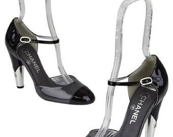 CHANEL  Pumps Cap Toe Patent Leather CC Logo Heels