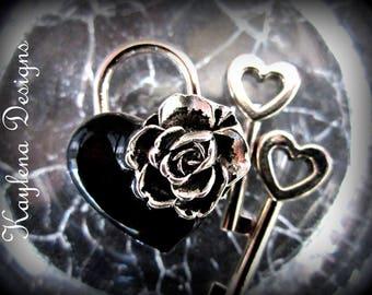 Rose Bud,  Small Heart Lock, working lock, lock and key  Love Lock