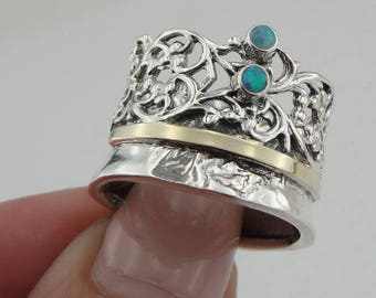 Fine opal Ring, 925 Silver 9K Yellow  Gold  Ring, green  stone ring. Free Shipping, Israeli Jewelry, Gift size 7.5 can be resize (ms 977r
