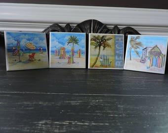 Ceramic Coasters, Beach, House Decor, Home Decor, Decoupage, Drink Coasters, Waterproof, Square Coasters, Beach Coasters, Beach Decor