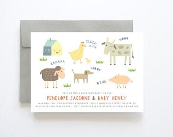 Barnyard Baby Shower Invitation, Farm Baby Shower Invitation, Farm Animal Baby Shower Invitation, Farm Baby Shower Invite, Country Baby