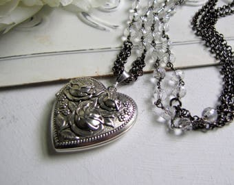 Silver Locket with Rock Crystal Silver Repousse Heart Locket Photo Locket Picture Locket Gemstone Locket Rose Locket Silver Vintage Locket
