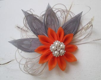 Burnt Orange & Gray Bridal Hair Flower, Silver Peacock Feather Wedding Fascinator, Rustic Bridal Hair Flower, Head Piece, Birdcage Veil