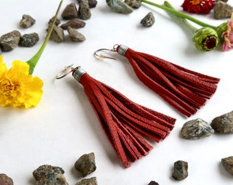 Boho Leather Fringe Earrings - Red - Genuine Leather - Recycled - Sterling Earwires - Dangle