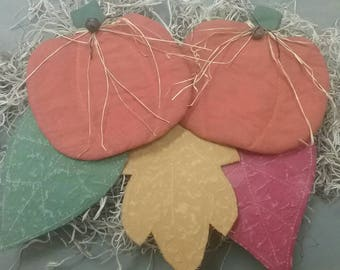 Fall Country Primitive Bowl Fillers - 3 Flat Painted Fabric Leaves  & 2 Pumpkins - Autumn Decor - Tucks - Fall Ornies - Primitive Grungy