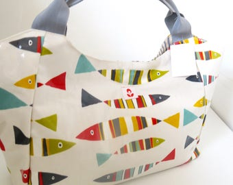 Large Bella Bag Made With Pilchard Print Oilcloth