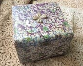With Rubbed Worn Paper This Antique Floral Collar Dresser Box Is Still Charming