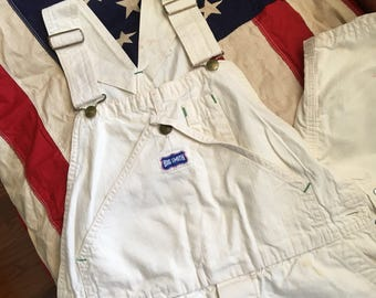 Come On Summer Vintage Big Smith White Overalls