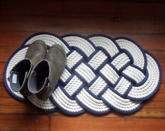 Off White Navy Accented Rope Mat 32 x 14