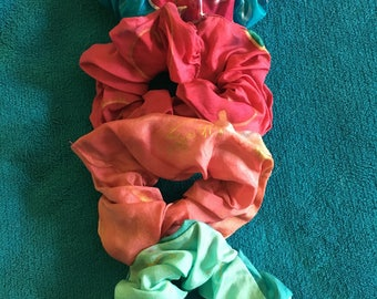 Two Handpainted Silk Scrunchies in Blue & Reds by The Silk Maid