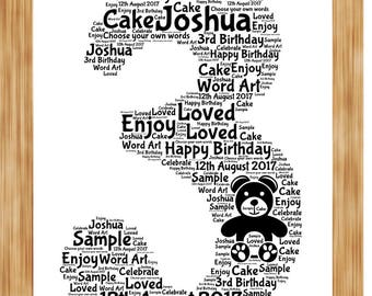 3rd Birthday Anniversary Word Art Print Personalised with your own words
