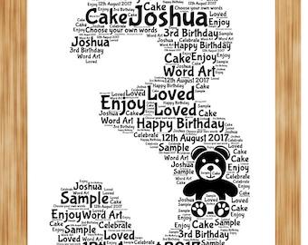 3rd Birthday, Anniversary, Word Art Print, Personalised gift, wedding