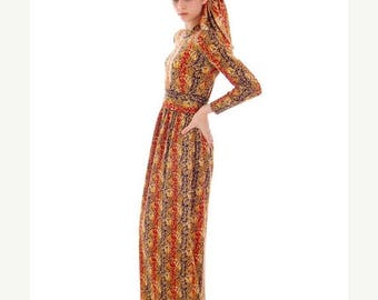 SAVE 20% Hot Vintage Goldworm Printed Wool Boho Maxi Dress w/ Matching Scarf 1970s  Small