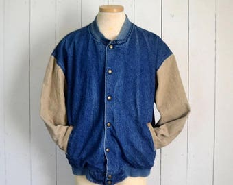 34% Off Sale - Denim Canvas Bomber Jacket Early 90s Tan Blue Button Up Vintage Woodland Outdoors Coat Mens Large