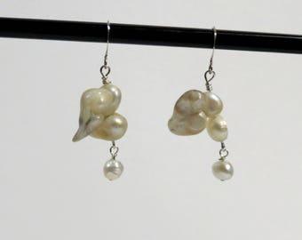 White large double baroque freshwater pearl earrings.   #EAR-204