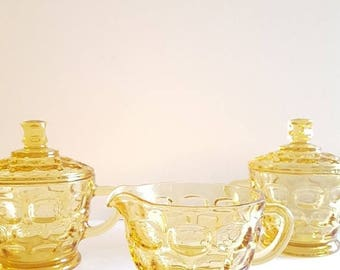 ON-SALE Cream & Sugar 3-pc Set: Honeycomb, Yellow Glass, Mustard, Kitchen Gift, Collectible
