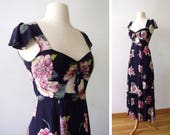 PEEK a BOO MIRANDA Summer dress ~ Navy and Pink Floral Dress with Peek a Boo Back ~ Size: Xs