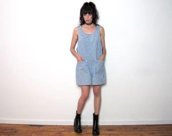 GINGHAM Vintage ROMPER 90s Blue White CHECK Loose Size L