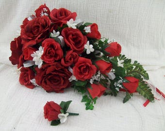 Red White and Silver Wedding Flowers Bridal Bouquet Cascade Style Bouquets 2 Piece Red Rose Bouquet FREE Grooms Red Rose Boutonniere