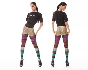 Rainbow Stripe Leggings, Burning Man, Festival Clothing, Holographic Spandex Pants, Dance Leggings, Music Video, Stage Wear, by LENA QUIST